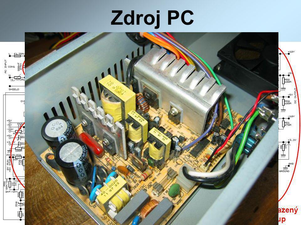 Zdroj PC Usměrňovač Vyhlazený výstup Zpětná vazba Řízení + stabilizace Budící trafo