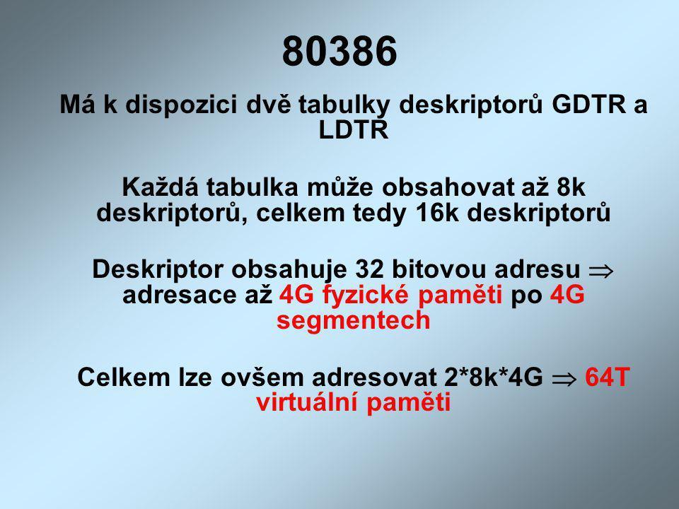 80386 Má k dispozici dvě tabulky deskriptorů GDTR a LDTR Každá tabulka může obsahovat až 8k deskriptorů, celkem tedy 16k deskriptorů Deskriptor obsahu