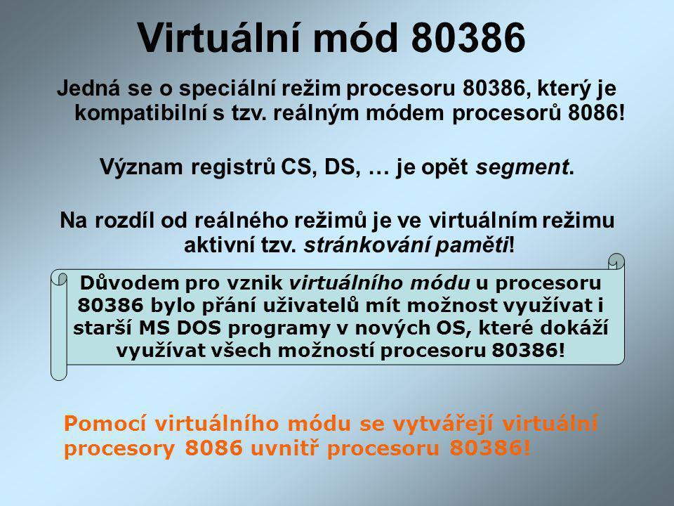 Virtuální mód 80386 Jedná se o speciální režim procesoru 80386, který je kompatibilní s tzv. reálným módem procesorů 8086! Význam registrů CS, DS, … j