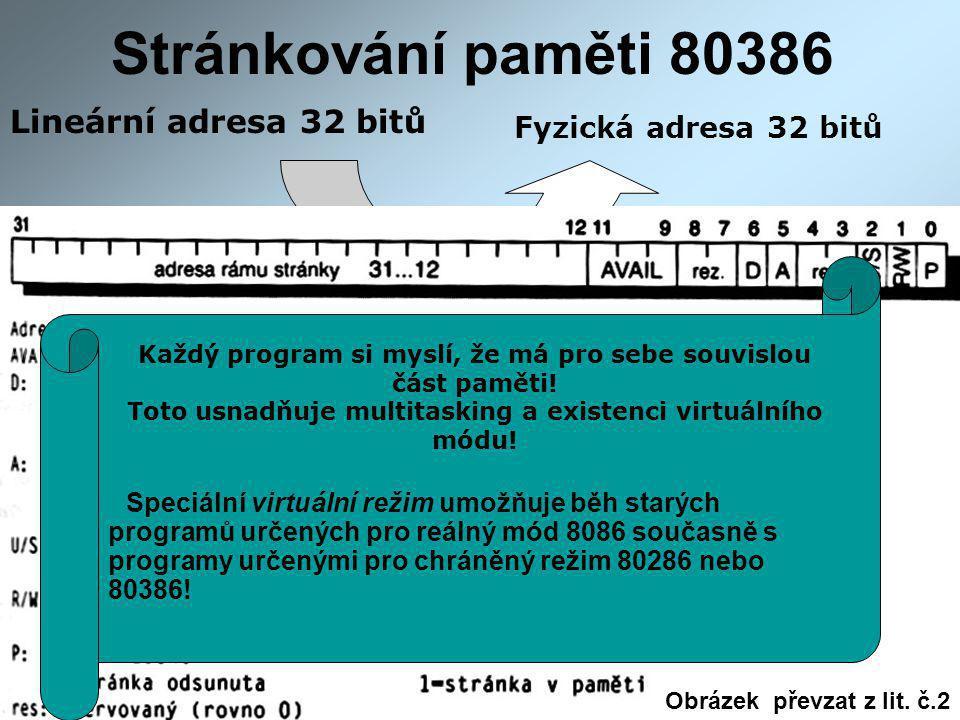 Stránkování paměti 80386 Lineární adresa 32 bitů Fyzická adresa 32 bitů Stránkovací mechanismus Paměť se stránkuje po 4k blocích prostřednictvím dvou tabulek.