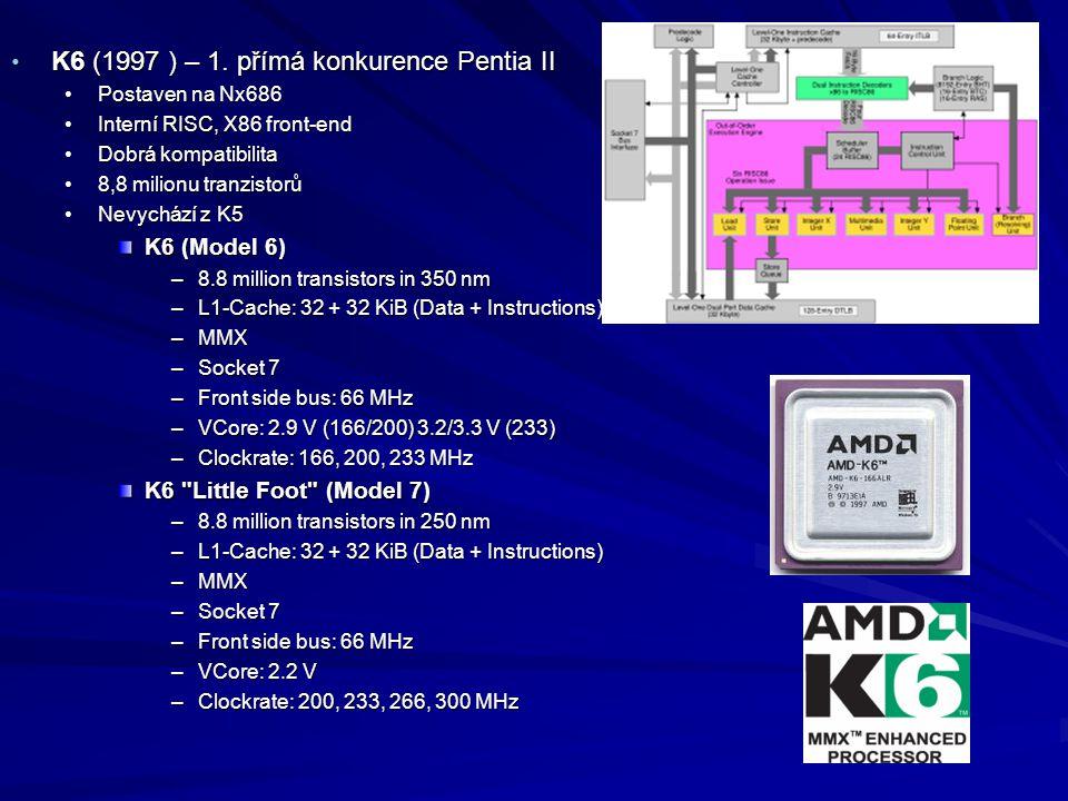 K6 (1997 ) – 1. přímá konkurence Pentia II K6 (1997 ) – 1. přímá konkurence Pentia II Postaven na Nx686Postaven na Nx686 Interní RISC, X86 front-endIn