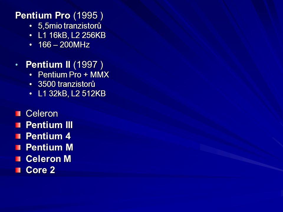 Pentium Pro (1995 ) 5,5mio tranzistorů5,5mio tranzistorů L1 16kB, L2 256KBL1 16kB, L2 256KB 166 – 200MHz166 – 200MHz Pentium II (1997 ) Pentium II (19