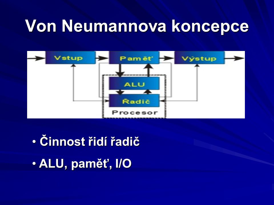 Von Neumannova koncepce Činnost řidí řadič Činnost řidí řadič ALU, paměť, I/O ALU, paměť, I/O