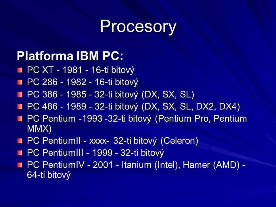 Procesory Platforma IBM PC: PC XT - 1981 - 16-ti bitový PC 286 - 1982 - 16-ti bitový PC 386 - 1985 - 32-ti bitový (DX, SX, SL) PC 486 - 1989 - 32-ti b