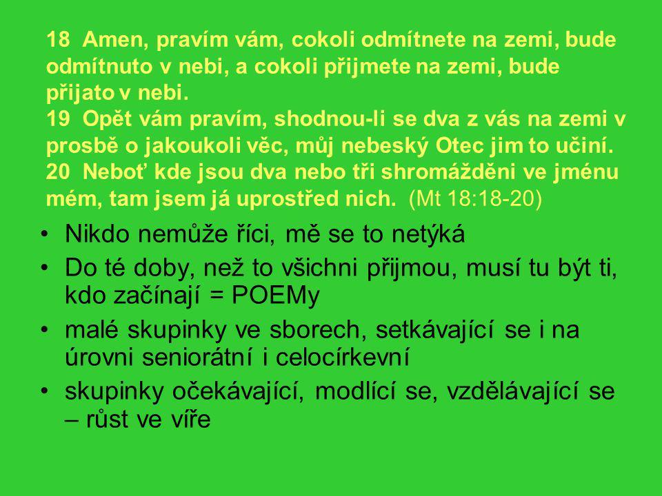 18 Amen, pravím vám, cokoli odmítnete na zemi, bude odmítnuto v nebi, a cokoli přijmete na zemi, bude přijato v nebi. 19 Opět vám pravím, shodnou-li s