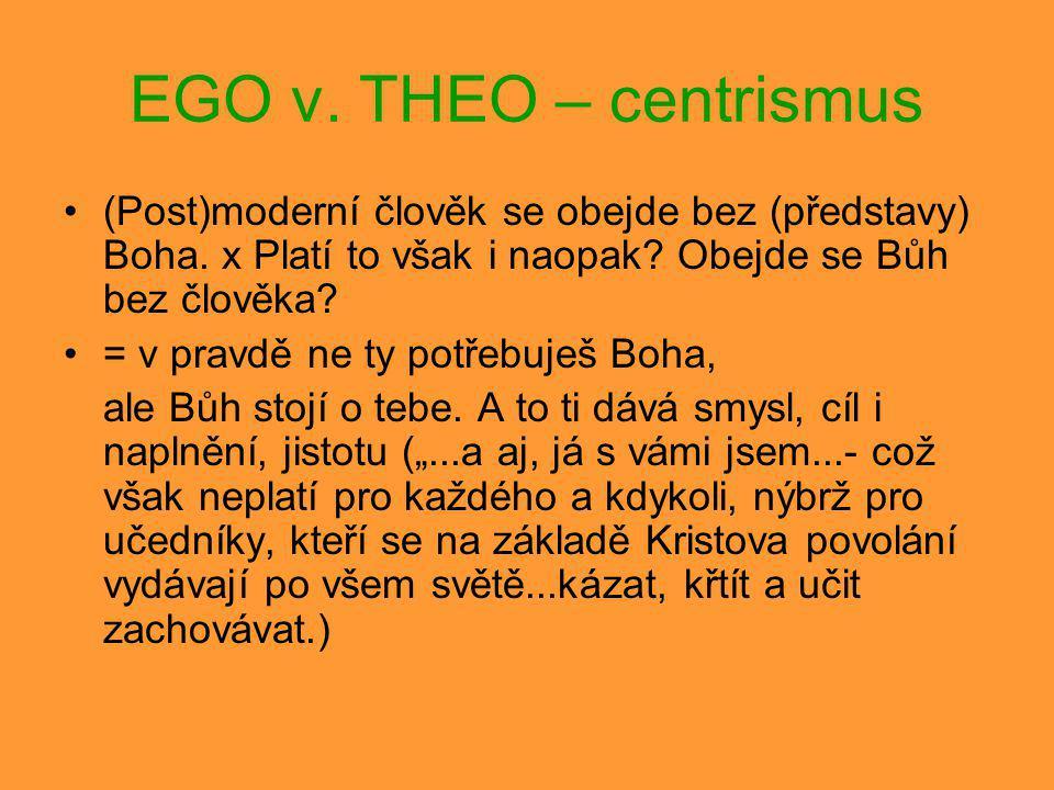 EGO v. THEO – centrismus (Post)moderní člověk se obejde bez (představy) Boha. x Platí to však i naopak? Obejde se Bůh bez člověka? = v pravdě ne ty po
