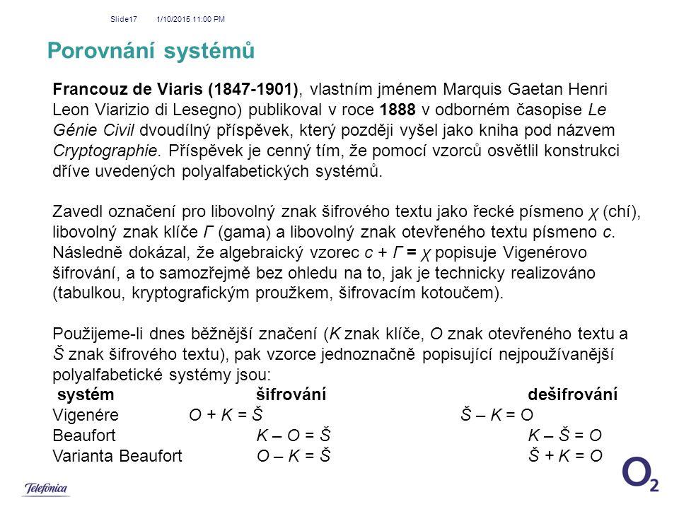 1/10/2015 11:01 PM Slide17 Porovnání systémů Francouz de Viaris (1847-1901), vlastním jménem Marquis Gaetan Henri Leon Viarizio di Lesegno) publikoval
