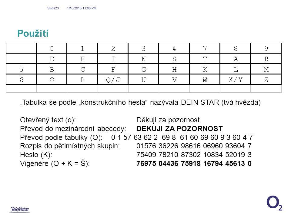 """1/10/2015 11:01 PM Slide23 Použití.Tabulka se podle """"konstrukčního hesla"""" nazývala DEIN STAR (tvá hvězda) Otevřený text (o): Děkuji za pozornost. Přev"""
