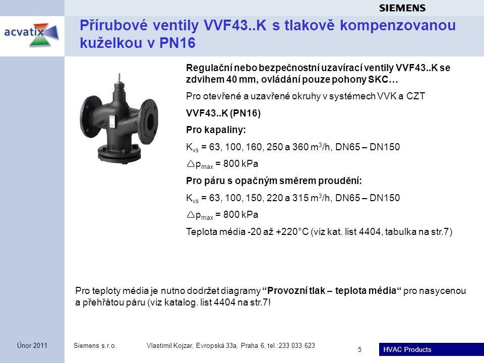 HVAC Products Siemens s.r.o.Vlastimil Kojzar, Evropská 33a, Praha 6, tel.:233 033 623 5 Únor 2011 Přírubové ventily VVF43..K s tlakově kompenzovanou k