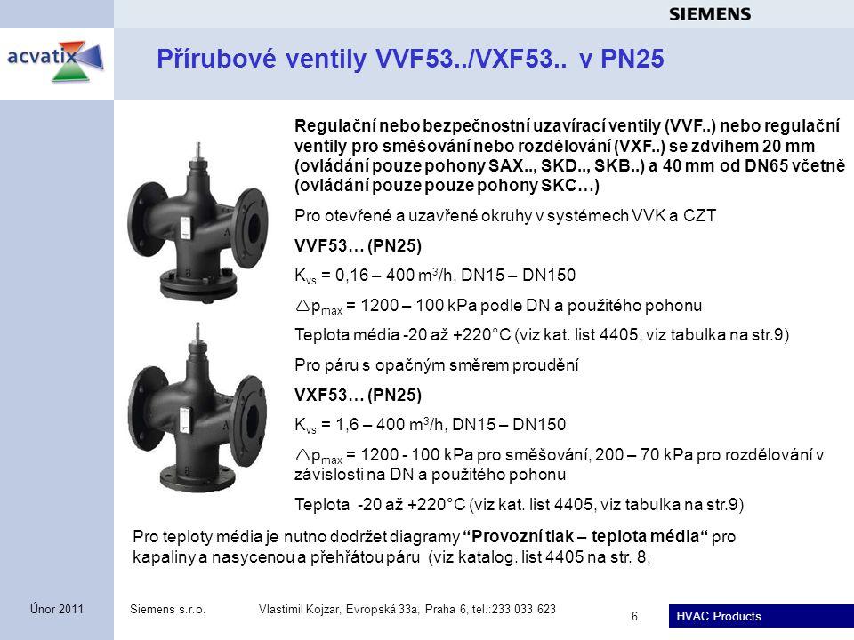 HVAC Products Siemens s.r.o.Vlastimil Kojzar, Evropská 33a, Praha 6, tel.:233 033 623 7 Únor 2011 Přírubové ventily VVF53..K s tlakově kompenzovanou kuželkou v PN25 Regulační nebo bezpečnostní uzavírací ventily VVF53..K se zdvihem 20 mm (ovládání pouze pohony SAX..