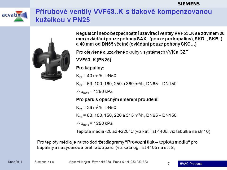 HVAC Products Siemens s.r.o.Vlastimil Kojzar, Evropská 33a, Praha 6, tel.:233 033 623 7 Únor 2011 Přírubové ventily VVF53..K s tlakově kompenzovanou k