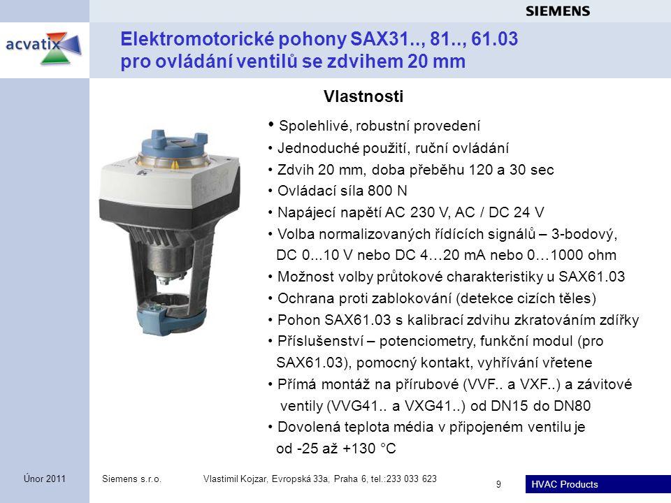 HVAC Products Siemens s.r.o.Vlastimil Kojzar, Evropská 33a, Praha 6, tel.:233 033 623 9 Únor 2011 Elektromotorické pohony SAX31.., 81.., 61.03 pro ovl