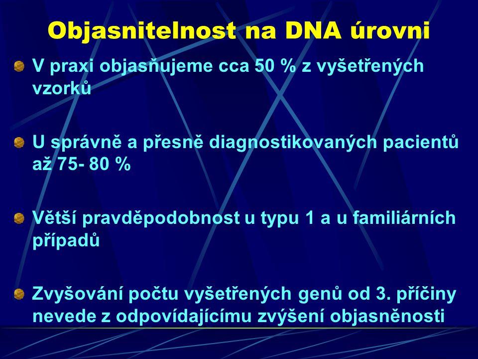 Objasnitelnost na DNA úrovni V praxi objasňujeme cca 50 % z vyšetřených vzorků U správně a přesně diagnostikovaných pacientů až 75- 80 % Větší pravděp