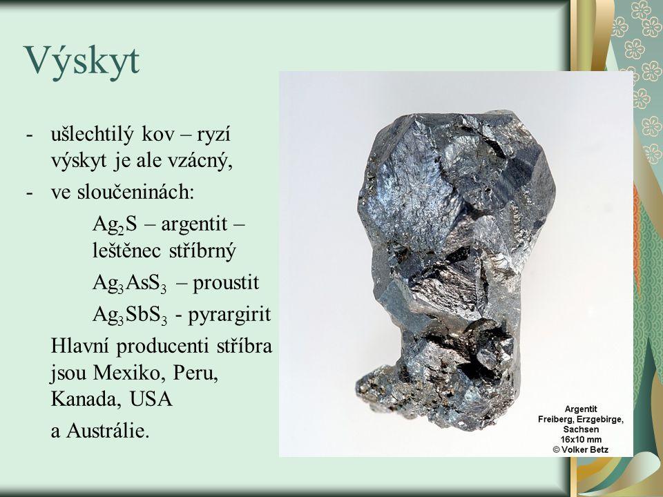 Výskyt -ušlechtilý kov – ryzí výskyt je ale vzácný, -ve sloučeninách: Ag 2 S – argentit – leštěnec stříbrný Ag 3 AsS 3 – proustit Ag 3 SbS 3 - pyrargi