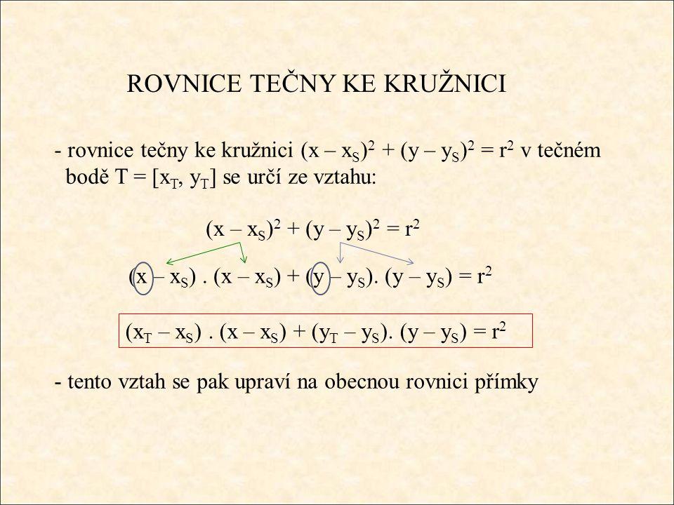 ROVNICE TEČNY KE KRUŽNICI Příklad 1: Určete rovnici tečny ke kružnici (x – 5) 2 + (y + 3) 2 = 26 v bodě T = [6, y T > 0] - musíme určit y-ovou souřadnici tečného bodu T є k: (6 – 5) 2 + (y T + 3) 2 = 26 1 + y T 2 +6y T + 9 = 26 y T 2 +6y T – 16 = 0 D = 6 2 – 4.(-16) = 100 y 1 = 2, y 2 = -8 T = [6, 2]