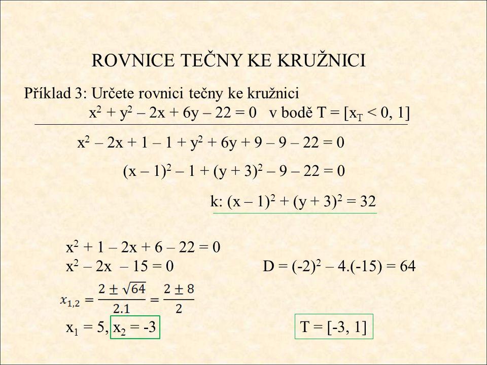 ROVNICE TEČNY KE KRUŽNICI Příklad 3: Určete rovnici tečny ke kružnici x 2 + y 2 – 2x + 6y – 22 = 0 v bodě T = [x T < 0, 1] x 2 – 2x + 1 – 1 + y 2 + 6y + 9 – 9 – 22 = 0 (x – 1) 2 – 1 + (y + 3) 2 – 9 – 22 = 0 k: (x – 1) 2 + (y + 3) 2 = 32 x 2 + 1 – 2x + 6 – 22 = 0 x 2 – 2x – 15 = 0D = (-2) 2 – 4.(-15) = 64 x 1 = 5, x 2 = -3 T = [-3, 1]