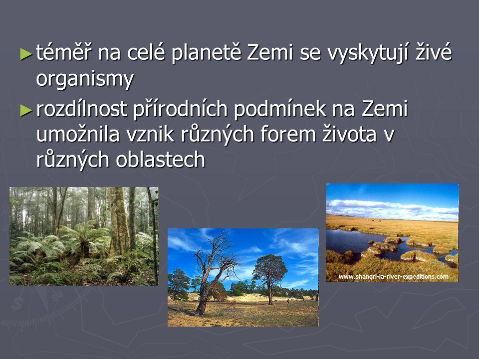 ► téměř na celé planetě Zemi se vyskytují živé organismy ► rozdílnost přírodních podmínek na Zemi umožnila vznik různých forem života v různých oblast