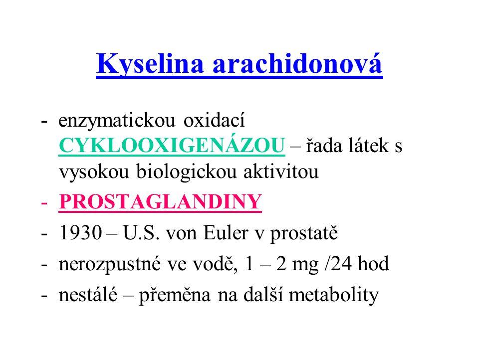 Kyselina arachidonová - enzymatickou oxidací CYKLOOXIGENÁZOU – řada látek s vysokou biologickou aktivitou -PROSTAGLANDINY -1930 – U.S.