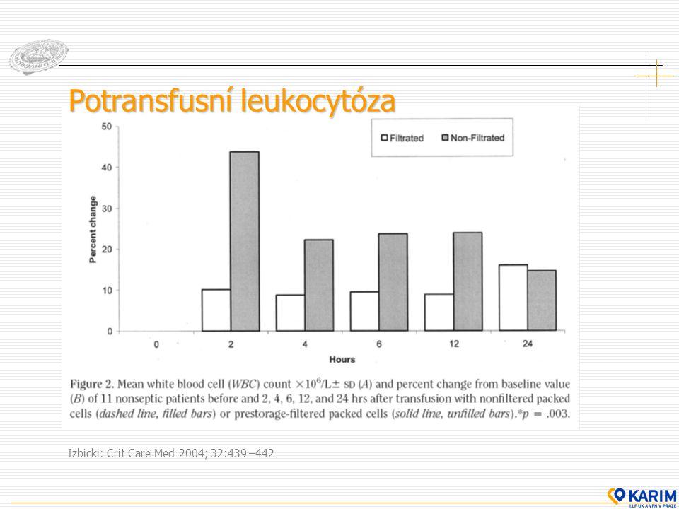 Izbicki: Crit Care Med 2004; 32:439 –442 Potransfusní leukocytóza