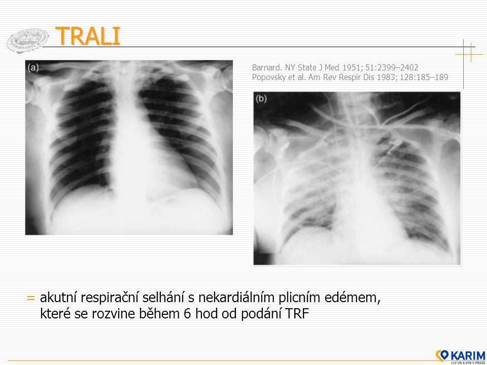 TRALI = akutní respirační selhání s nekardiálním plicním edémem, které se rozvine během 6 hod od podání TRF Barnard. NY State J Med 1951; 51:2399–2402
