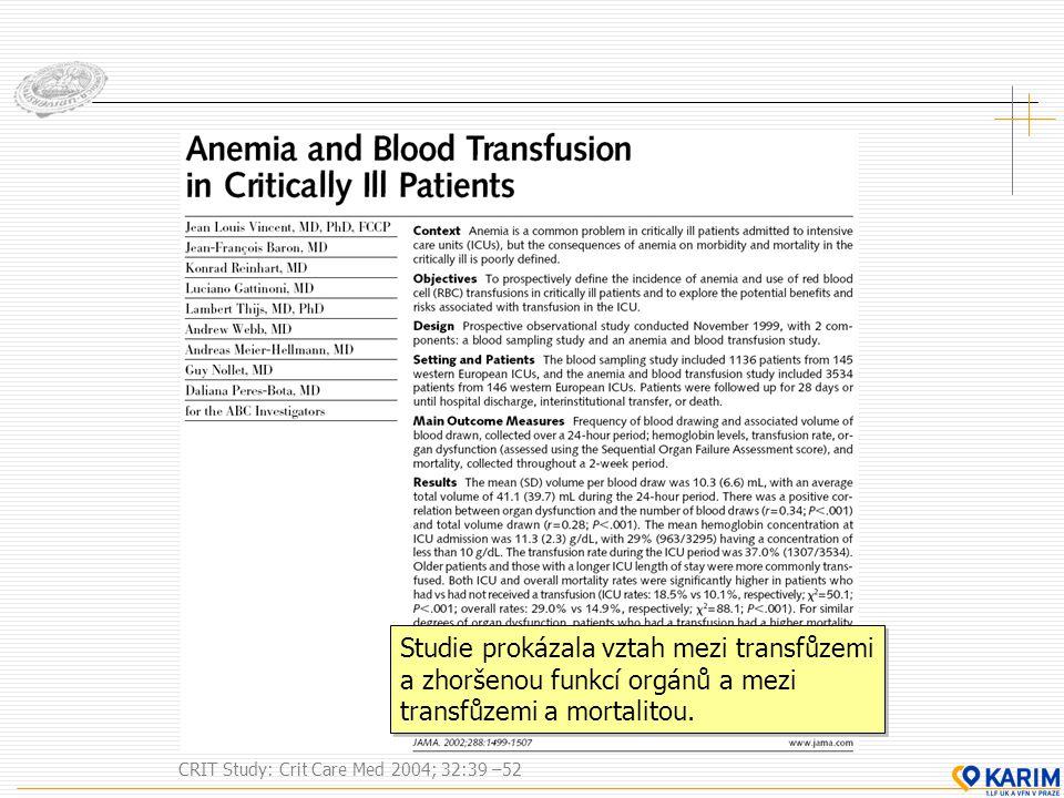 Studie prokázala vztah mezi transfůzemi a zhoršenou funkcí orgánů a mezi transfůzemi a mortalitou.
