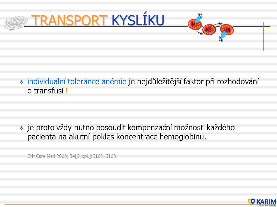 TRANSPORT KYSLÍKU  individuální tolerance anémie je nejdůležitější faktor při rozhodování o transfusi !  je proto vždy nutno posoudit kompenzační mo