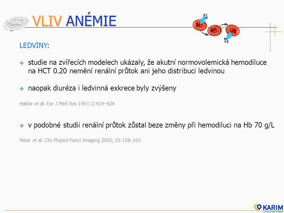 VLIV ANÉMIE LEDVINY:  studie na zvířecích modelech ukázaly, že akutní normovolemická hemodiluce na HCT 0.20 nemění renální průtok ani jeho distribuci