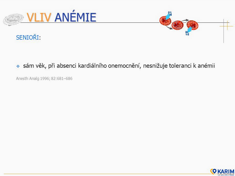 VLIV ANÉMIE SENIOŘI:  sám věk, při absenci kardiálního onemocnění, nesnižuje toleranci k anémii Anesth Analg 1996; 82:681–686