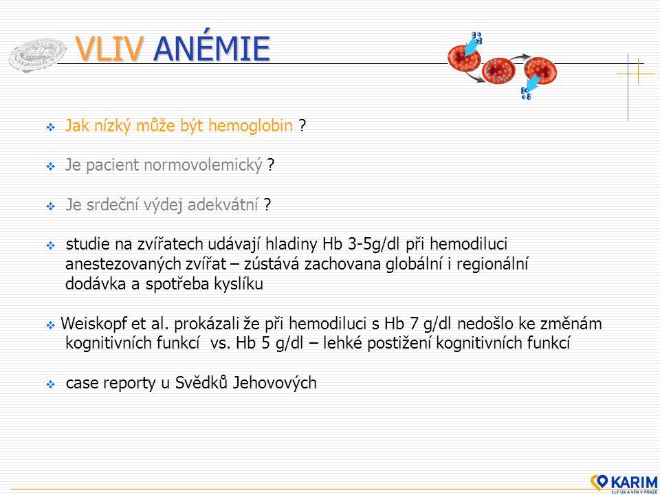 VLIV ANÉMIE  Jak nízký může být hemoglobin ?  Je pacient normovolemický ?  Je srdeční výdej adekvátní ?  studie na zvířatech udávají hladiny Hb 3-