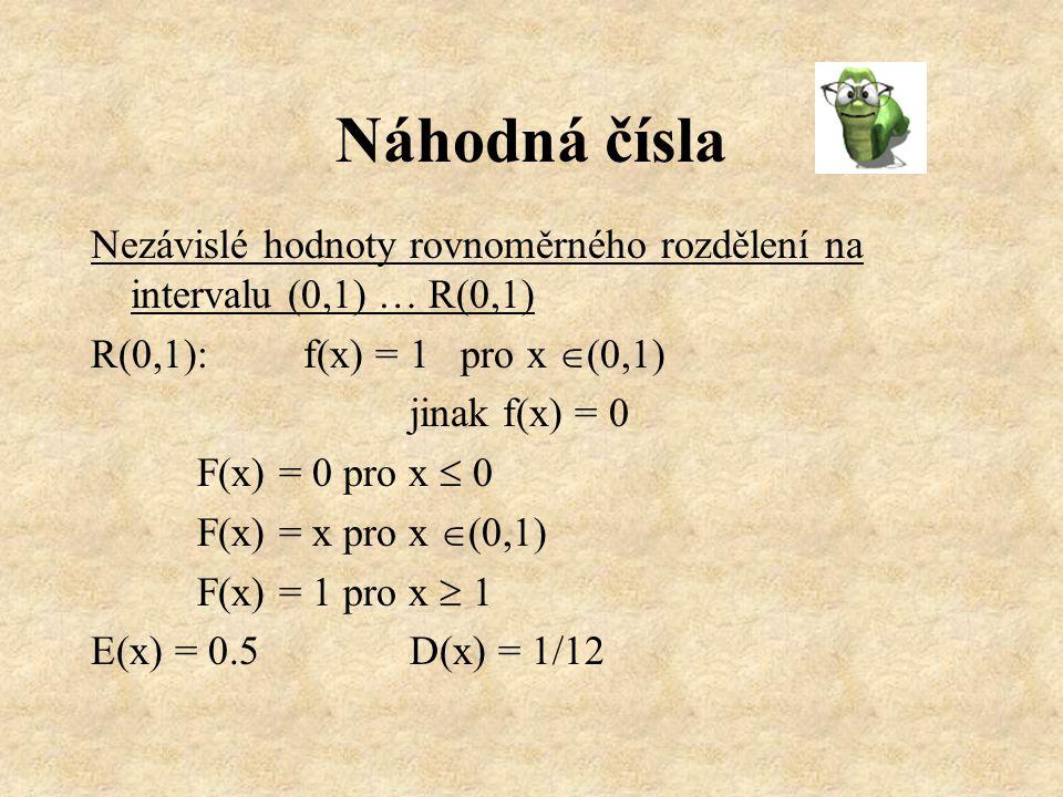 Generátory náhodných čísel 1.Tabulky náhodných čísel 2.Mechanické (kostka, mince, losovací zařízení) 3.Fyzikální či chemické 4.Aritmetické = výpočet  získáme pseudonáhodná čísla
