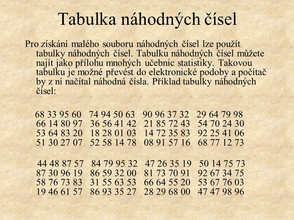 Tabulka náhodných čísel Pro získání malého souboru náhodných čísel lze použít tabulky náhodných čísel.