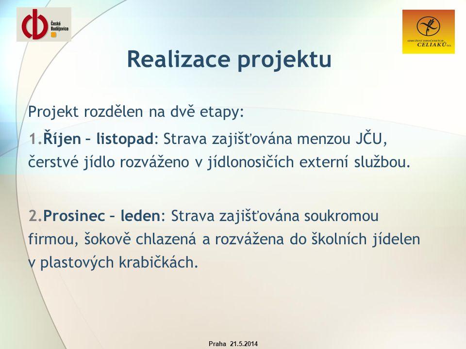 Realizace projektu Projekt rozdělen na dvě etapy: 1.Říjen – listopad: Strava zajišťována menzou JČU, čerstvé jídlo rozváženo v jídlonosičích externí službou.