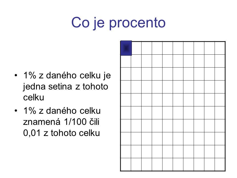 Procvičení vypočítej 1% 1.ze 100,- Kč (výpočet: 100 : 100 = 1,- Kč) 2.z 8000,- Kč (výpočet: 8000 : 100 = 80,- Kč) 3.z 30 kg ( výpočet: 30 : 100 = 0,3 kg)
