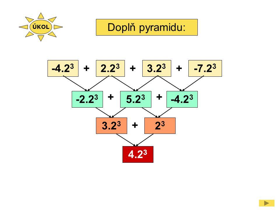 Doplň pyramidu: -4.2 3 2.2 3 3.2 3 -7.2 3 +++ ++ + -2.2 3 5.2 3 -4.2 3 3.2 3 2323 4.2 3 ÚKOL