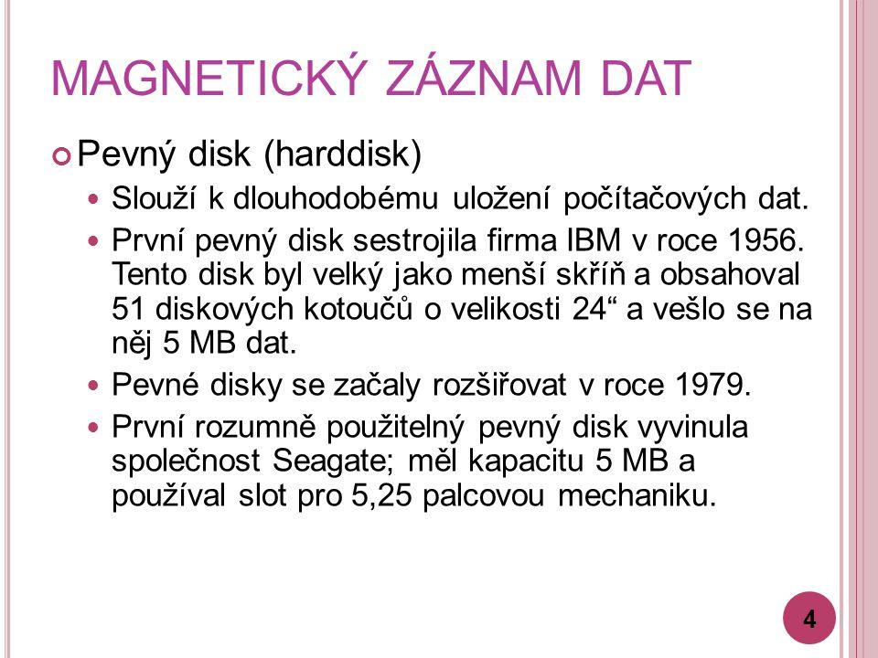 MAGNETICKÝ ZÁZNAM DAT Pevný disk (harddisk) Slouží k dlouhodobému uložení počítačových dat. První pevný disk sestrojila firma IBM v roce 1956. Tento d