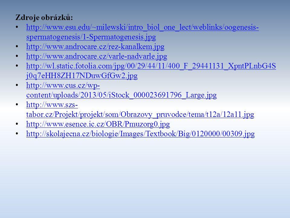 Zdroje obrázků: http://www.esu.edu/~milewski/intro_biol_one_lect/weblinks/oogenesis- spermatogenesis/1-Spermatogenesis.jpg http://www.esu.edu/~milewsk