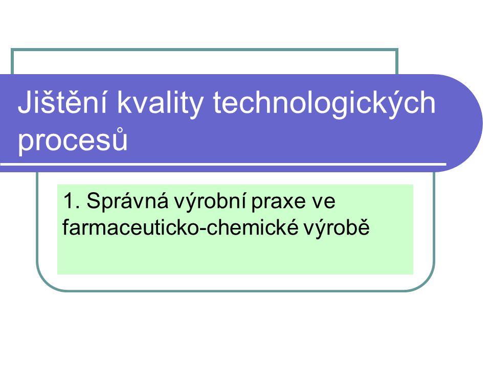Jištění kvality technologických procesů 1. Správná výrobní praxe ve farmaceuticko-chemické výrobě