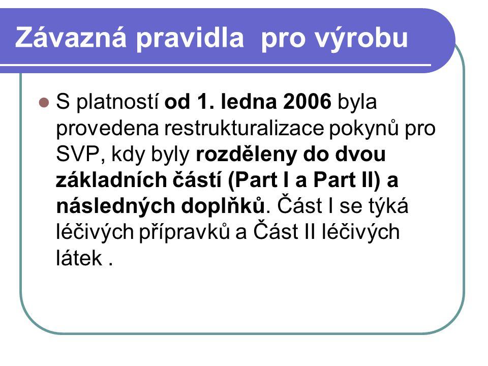 Závazná pravidla pro výrobu S platností od 1. ledna 2006 byla provedena restrukturalizace pokynů pro SVP, kdy byly rozděleny do dvou základních částí