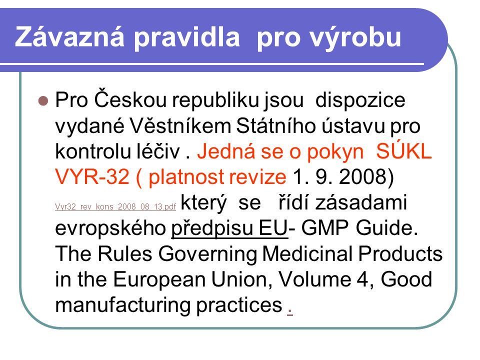 Závazná pravidla pro výrobu Pro Českou republiku jsou dispozice vydané Věstníkem Státního ústavu pro kontrolu léčiv. Jedná se o pokyn SÚKL VYR-32 ( pl