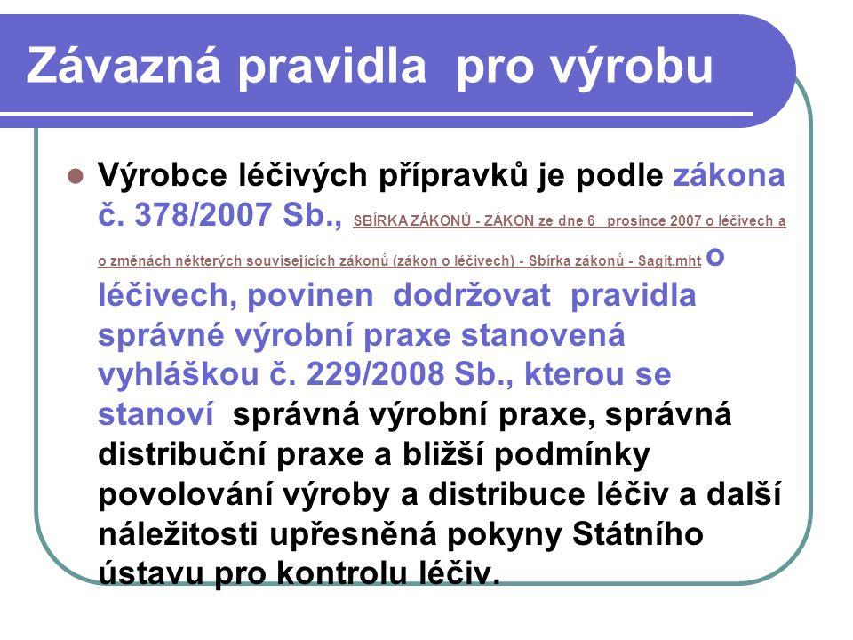 Závazná pravidla pro výrobu Výrobce léčivých přípravků je podle zákona č. 378/2007 Sb., SBÍRKA ZÁKONŮ - ZÁKON ze dne 6_ prosince 2007 o léčivech a o z
