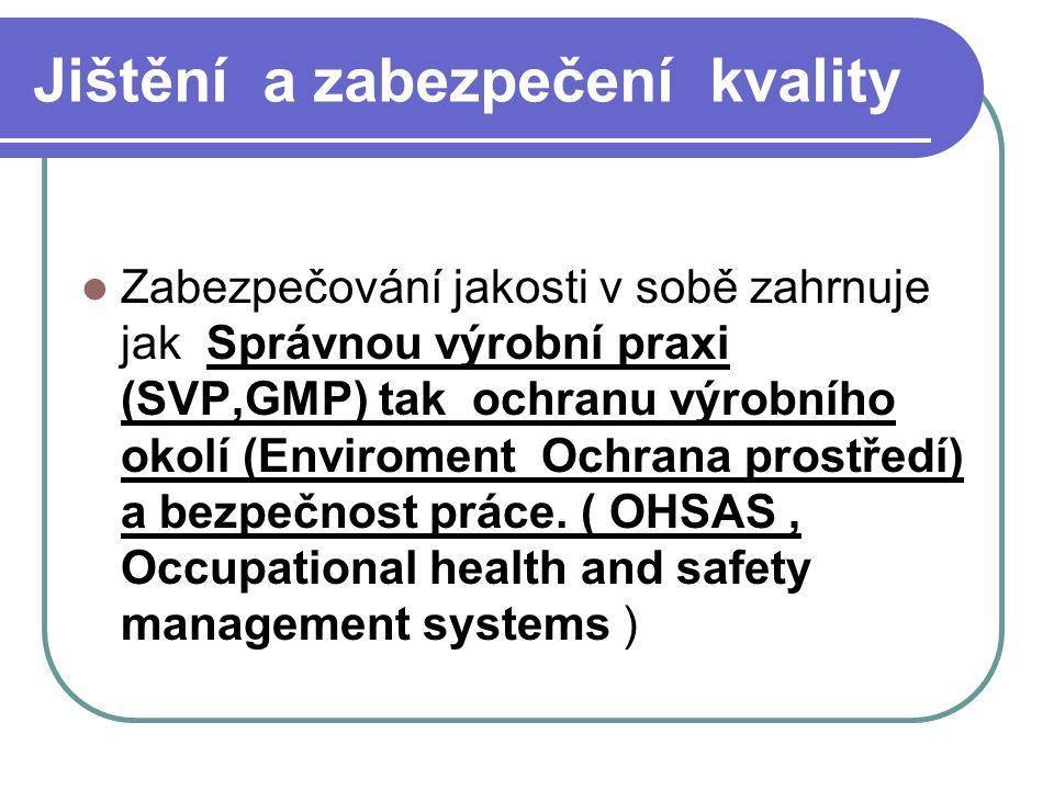 Jištění a zabezpečení kvality Zabezpečování jakosti v sobě zahrnuje jak Správnou výrobní praxi (SVP,GMP) tak ochranu výrobního okolí (Enviroment Ochra