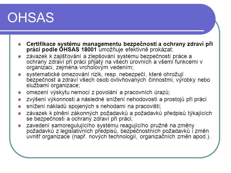 OHSAS Certifikace systému managementu bezpečnosti a ochrany zdraví při práci podle OHSAS 18001 umožňuje efektivně prokázat: závazek k zajišťování a zl