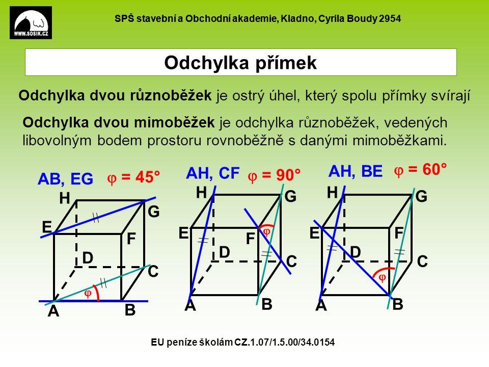 SPŠ stavební a Obchodní akademie, Kladno, Cyrila Boudy 2954 EU peníze školám CZ.1.07/1.5.00/34.0154 Odchylka přímek Je dán pravidelný trojboký hranol ABCA B C , |AB|=4cm, |AA |=5cm.