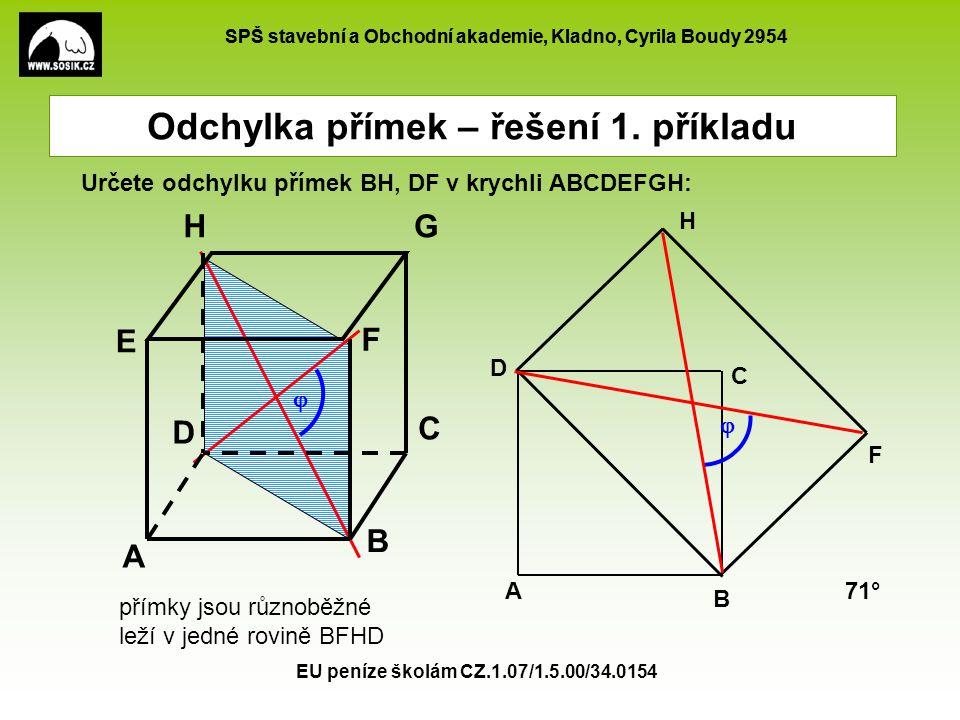 SPŠ stavební a Obchodní akademie, Kladno, Cyrila Boudy 2954 EU peníze školám CZ.1.07/1.5.00/34.0154 Určete odchylku přímek BH, DF v krychli ABCDEFGH: