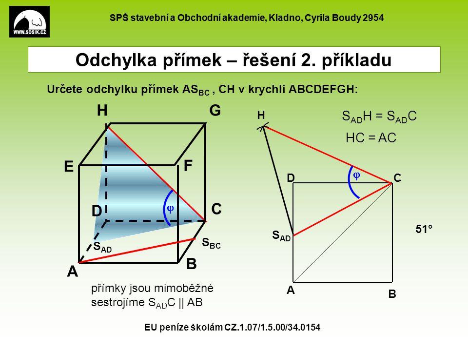 SPŠ stavební a Obchodní akademie, Kladno, Cyrila Boudy 2954 EU peníze školám CZ.1.07/1.5.00/34.0154 Odchylka přímek – řešení 3.