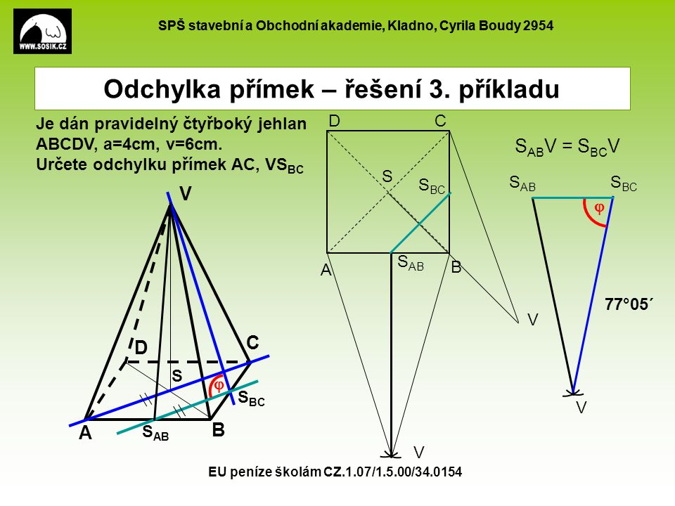 SPŠ stavební a Obchodní akademie, Kladno, Cyrila Boudy 2954 EU peníze školám CZ.1.07/1.5.00/34.0154 Odchylka přímek – řešení 4.