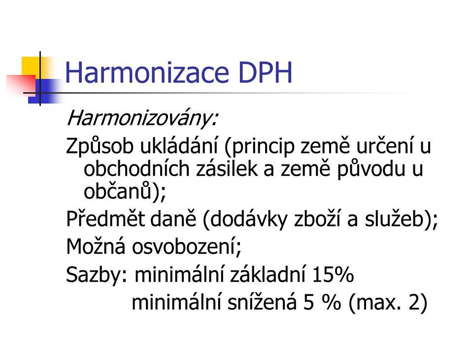 Harmonizace DPH Harmonizovány: Způsob ukládání (princip země určení u obchodních zásilek a země původu u občanů); Předmět daně (dodávky zboží a služeb); Možná osvobození; Sazby: minimální základní 15% minimální snížená 5 % (max.
