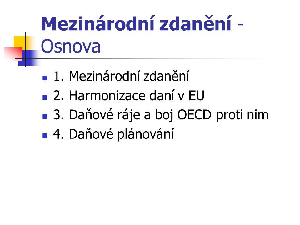 Mezinárodní zdanění - Osnova 1.Mezinárodní zdanění 2.
