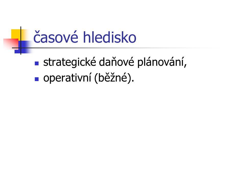 časové hledisko strategické daňové plánování, operativní (běžné).