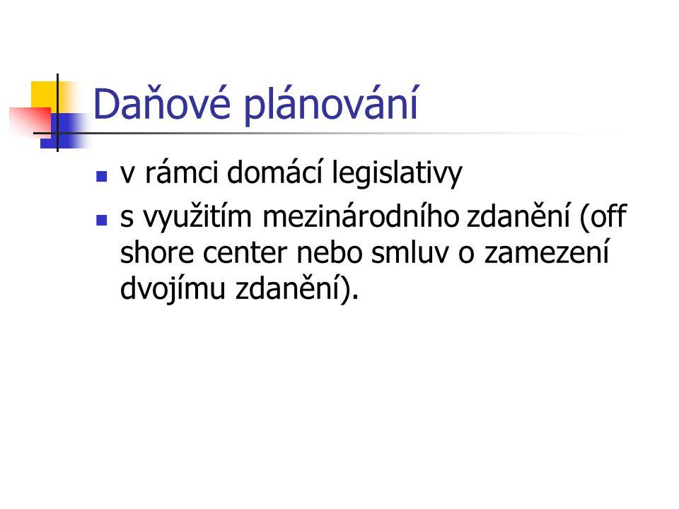 Daňové plánování v rámci domácí legislativy s využitím mezinárodního zdanění (off shore center nebo smluv o zamezení dvojímu zdanění).